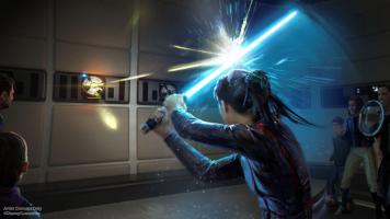 Vue d'artiste d'un entrainement au sabre laser dans le futur hôtel Galactic Starcruiser du parc Disney © Disney Parks